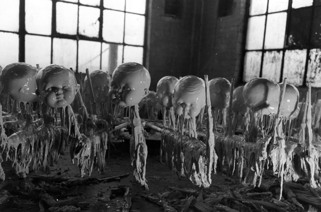 1947: Dolls' heads in the doll factory waiting to dry. Original Publication: Picture Post - 4292 - Dolls Factory - unpub. (Photo by Merlyn Severn/Picture Post/Getty Images)
